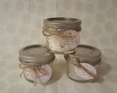 3 Mini 4oz Mason Jar Candles for 12! Custom Labels available! Great For wedding or shower favors!!