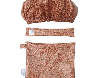 Women's Floral Berry Bathroom Spa Gift Set. Shower Cap, Makeup Bag and Toothbrush Bag Travel Set