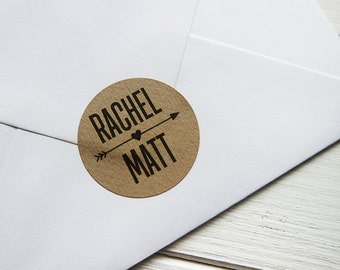 24 Custom Kraft Brown Wedding Stickers Names Arrow Heart Rustic Personalized Envelope Seals 40mm / Wedding Favor / 226