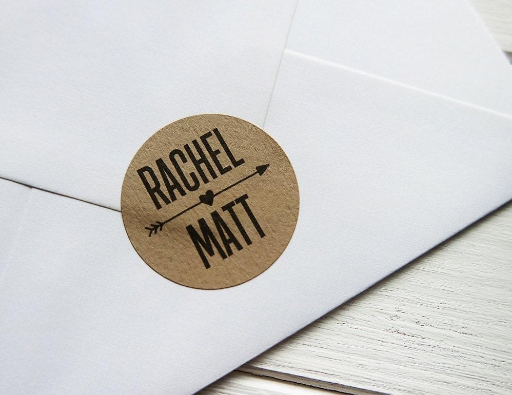 24 Custom Kraft Brown Wedding Stickers Names Arrow Heart