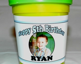 Play Doh Labels Personalized with Photo - Great Birthday Party Favors - Create your own!!!