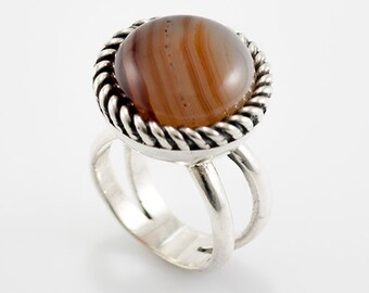 Silver with agate ring