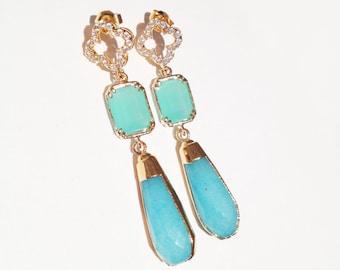 24kt Gold Sky Blue and Mint Quatrfoil Gold Earrings