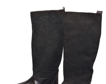Vintage Estate Nina Black Leather Suede Boots Size 8.5