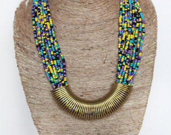 Purple seed bead necklace with Spring pendant/ Beaded Necklace/ Chunky Necklace/ Statement Necklace/ Handmade Jewelry