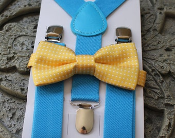 Kids Boys Baby Suspenders  Blue Yellow bow tie 6mo-2T 3T 4T 5T baby prop Set, Ring bearer