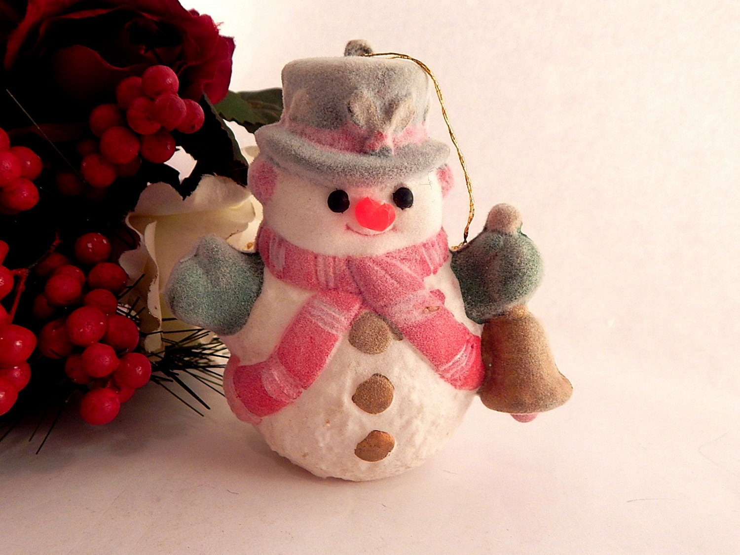 Snowman christmas tree ornament retro flocked plastic vintage for Plastic snowman
