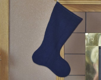 Knit Christmas Stocking made from an Up-cycled Dk Blue Pure New Wool sweater, Christmas stocking, holiday stocking, fully lined, variation