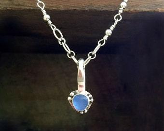 Small CornFlower Blue Sea Glass Necklace