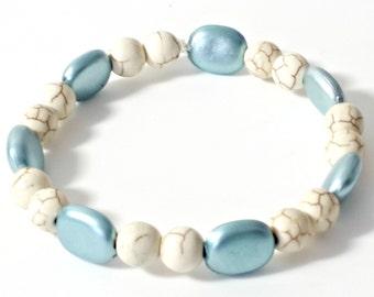 Ladies bracelet Light Blue and white elasticated handmade beaded bracelet acrylic beads 7ins