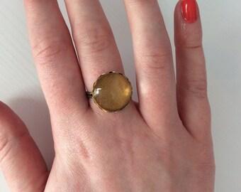 Antique golden yellow statement ring