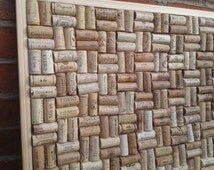 "Cork Notice / Pin Board hand-crafted from re-cycled Wine Corks in Block layout- large size 24"" x 18"" (60 x 45cm )"