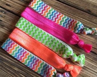 Neon Rainbow Chevron Women's Elastic Hair Ties, Set of Five Hair Elastics, Orange, Green and Hot Pink Hair Ties