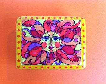 "Print of an original watercolor painting - SUN CIRCLES - on a cedar wood block (5 1/4""L x4 1/2 ""H x 1 1/2"" W) - art block - home decor"