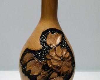 Hand Engraved Wood Flower Vase