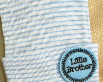 A Best Seller! Newborn Hospital Hat. Now w/blue and Black LITTLE BROTHER Applique.  Every New Baby Boy Should Have! Adorable!
