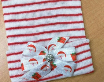 Newborn Hospital Hat! CHRISTMAS HOLIDAY hospital hat topped off with a Santa Bow with Rhinestone! Baby's 1st Keepsake! Cute for Baby!