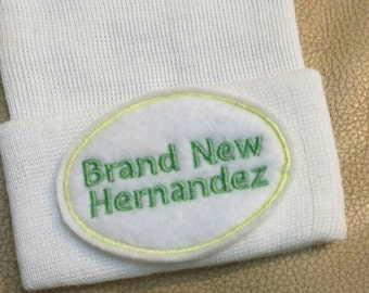 Exclusive Newborn Hospital Hat Monogramed Brand New... PERSONALIZED! For Boy or Girl! Choose Hat and Applique Color. 1st Ke