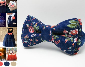 Men's bow tie, cotton bow tie, blue pink floral wedding bow tie, boys bow tie, kids bow tie, newborn bow tie, gift, photo shoot