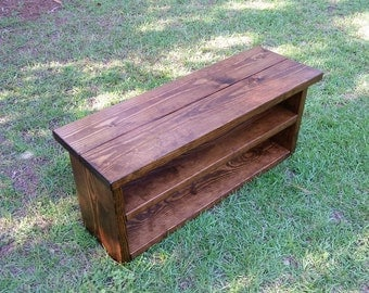 Rustic Shoe Rack Bench - Wooden Storage Bench, Entryway Bench, Boot Bench, Reclaimed Wood Bench, Farmhouse Bench
