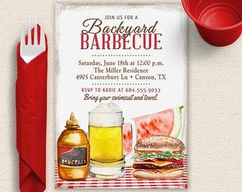 Backyard BBQ Invitation, BBQ Invitation, Backyard Barbecue Invitation, BBQ Shower Inivitation, Picnic Invitation, Memoral Day Inivitation