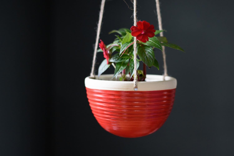 Large Hanging Planter Red Indoor Planter Ceramic