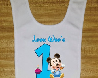 Look Who's One Birthday Bib. SUPER SOFT & WASHABLE  Makes a great gift