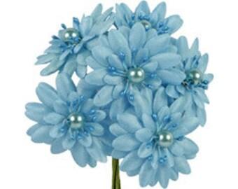 6 Pcs Daisy Light Blue Fabric Flower Bouquet Flowers Supplies Wedding Artificial Flower Silk Flower Gerbera Daisy
