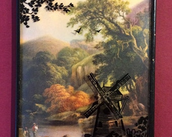 Vintage 1940's Reverse Painted Silhouette Picture of Windmill on Convex Glass
