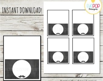LITTLE MAN BIRTHDAY *Chalkboard *Labels * First Birthday * Mustache * Party Decor * Digital Printable *Instant Download