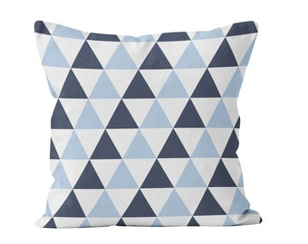 Blue Triangles Pillow Cover, Navy and Pastel Blue Pillow Cover, Geometric Pillow Cover, Tone on Tone Blue Triangles Throw Cushion Cover