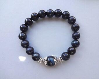 Blue Tiger Eye gemstone everyday stretch bracelet - Tiger eye mens jewelry