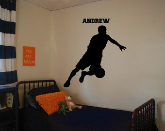 Basketball Player with Custom Name Wall Decal Version 5