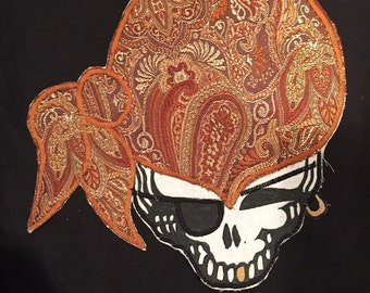 """Steal Your Face Pirate Patch ~ Earthy Paisley Large 9""""x9"""" ~ Hand Made ~ Applique ~ FREE US SHIPPING!!"""