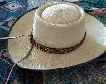 Custom Beaded Hatband with initials, name  or brand, Hand Beaded Hat Band, Native American, Cowboy Hat band