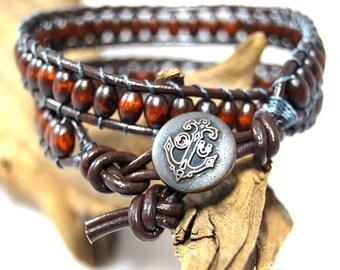 Beaded brown wrap bracelet,leather bracelet,double wrap,wooden beads,womans bracelet,mens bracelet,gift bracelet,beaded bracelet