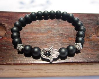 Hamsa Hand Onyx Bracelet Onyx Fatima Hand Bracelet Hamsa Hand Onyx Charm Bracelet Protection Bracelet Hamsa Hand Onyx Protection Bracelet
