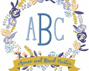 Floral Wreath with Banner -Machine Embroidery Design