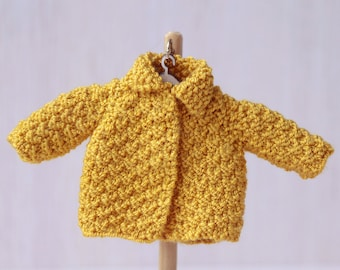 """6"""" doll Yellow  knitted Jacket. BJD doll jacket. Lati yellow  clothes. Tiny bjd outfit. 16cm bjd outfit"""
