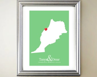 Morocco Custom Vertical Heart Map Art - Personalized names, wedding gift, engagement, anniversary date