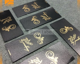 500 Custom gold print label, gold ink label, satin printed label