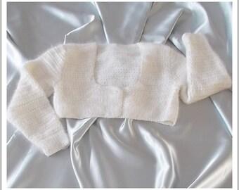Bolero girl Angora white and Ecru silk size 8/10 years