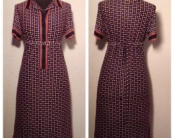 60's Black, Brown Dot Shift Dress With Belt, Size Medium,