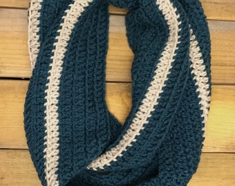 Cream and Teal Infinity Scarf