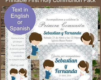 Personalized First Holy Communion Printable Invitation, Bookmark and Thank You Card - Custom Order First Holy Communion- Printable Set