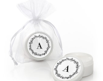 Floral Monogram Lip Balm Party Favors -  Wedding Party Supplies - 12 Count
