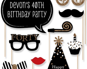 40th Birthday - Gold Party Photo Booth Props - Adult Birthday Party Photobooth Kit with Custom Talk Bubble - 20 Pieces