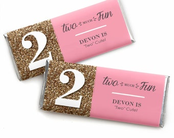 24 Two Much Fun -  Girl Custom Candy Bar Wrappers - Personalized Birthday Party Favors