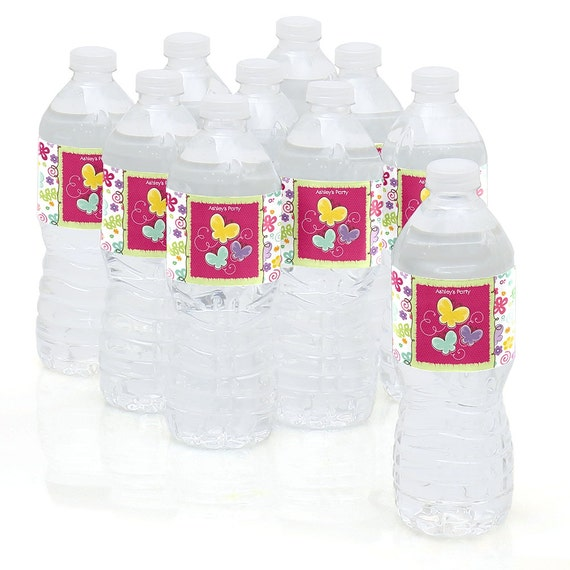 10 Butterfly And Flowers Water Bottle Sticker Labels