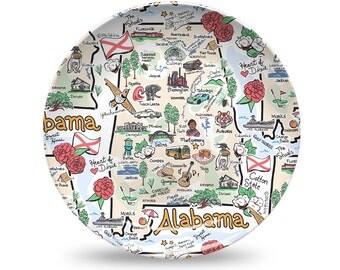 Alabama Plastic Plate, Alabama State Map Plastic Plate - High End Plastic